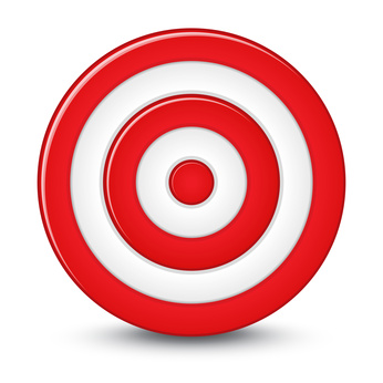 Red darts target aim on white background.